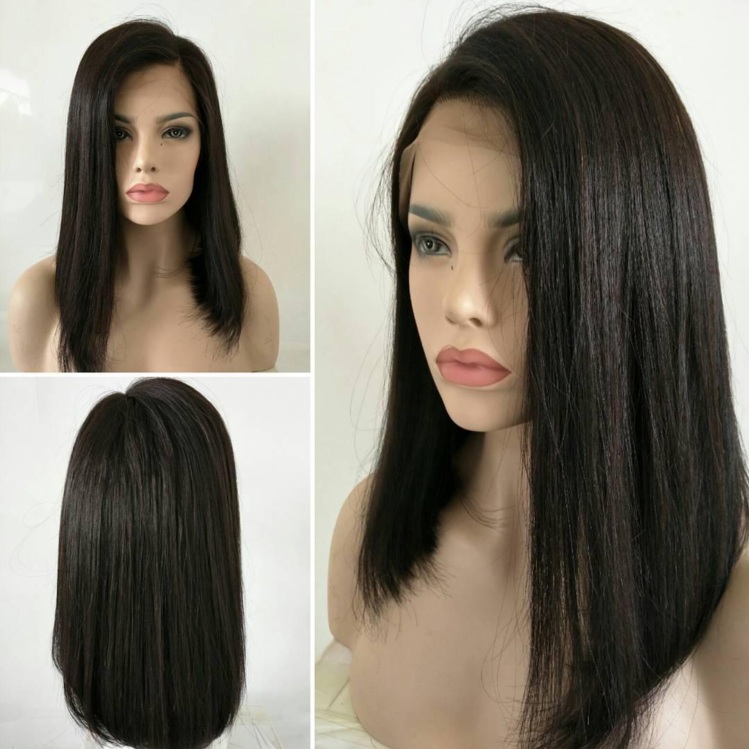 Blunt Cut Weave Cap: Silky Straight Human Hair Wig Blunt Cut Wig Customized